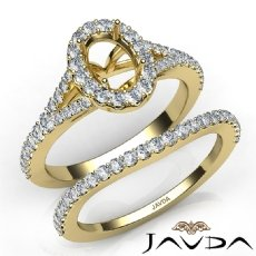 U Prong Diamond Engagement Ring Oval Semi Mount Bridal Set 14k Gold Yellow  (0.8Ct. tw.)