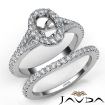 U Prong Diamond Engagement Ring Oval Semi Mount Bridal Set 14k White Gold 0.8Ct - javda.com