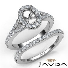 U Prong Diamond Engagement Ring Oval Semi Mount Bridal Set 14K White Gold 0.80Ct