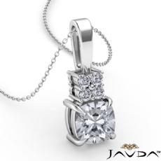 Claw Prong Bail Basket Set Cushion diamond  Pendant in 14k Gold White