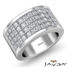 Princess Invisible Diamond Women's Half Wedding Band Ring 14k White Gold 2.15Ct