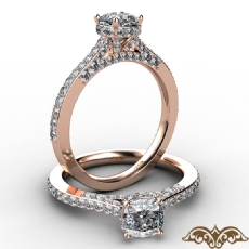 Crown Halo Pave Bridge Accent Cushion diamond  Ring in 18k Rose Gold