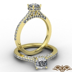 Crown Halo Pave Bridge Accent diamond Ring 14k Gold Yellow