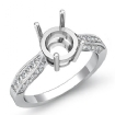 0.4Ct Round Diamond Engagement Ring Cathedral Pave Setting 14k White Gold Semi Mount - javda.com