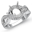 1Ct Diamond Antique Engagement Ring 14k White Gold Round Semi Mount Halo Setting - javda.com