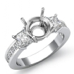 Three 3 Stone Diamond Engagement Ring 14k White Gold Princess Round Setting 1.1Ct - javda.com
