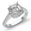 0.5Ct Diamond Engagement Ring Cushion Semi Mount Halo Setting 14k White Gold - javda.com