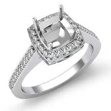 0.50 CT Diamond Engagement Ring Cushion Semi Mount Halo Setting 14k White Gold