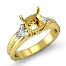 Diamond Engagement Three 3 Stone Trillion Cushion Setting Ring 18k Gold Yellow  (0.58Ct. tw.)