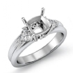 Diamond Engagement Three 3 Stone Trillion Cushion Setting Ring 14k White Gold 0.58Ct - javda.com