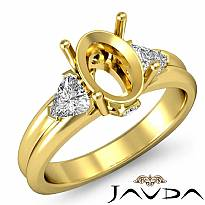 Diamond Engagement Three 3 Stone Trillion Oval Semi Mount Ring 18k Gold Yellow  (0.62Ct. tw.)