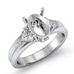 Diamond Engagement Three 3 Stone Trillion Oval Semi Mount Ring 14k White Gold 0.62Ct - javda.com