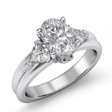 Trillion 3 Stone Prong Set Oval diamond engagement Ring in 14k Gold White