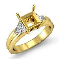 Diamond Engagement Three 3Stone Trillion Princess Setting Ring 18k Gold Yellow  (0.62Ct. tw.)