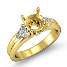 Diamond Engagement Three 3 Stone Trillion Round Setting Ring 18k Gold Yellow  (0.6Ct. tw.)