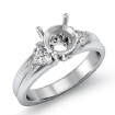 Diamond Engagement Three 3 Stone Trillion Round Setting Ring 14k White Gold 0.6Ct - javda.com