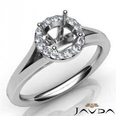Diamond Engagement Round Semi Mount 14K W Gold Halo Pave Setting Ring 0.20Ct