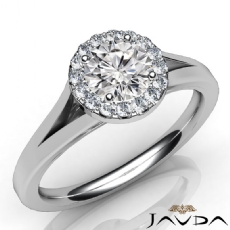 Halo Pave Plain Split Shank Round diamond engagement Ring in 14k Gold White