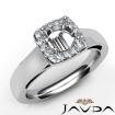 Round Diamond Engagement Halo Pave Setting Semi Mount Ring 14k White Gold 0.2Ct - javda.com