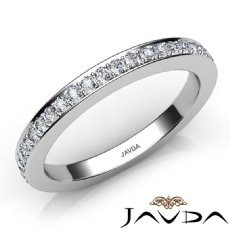 Round Diamond Women's Wedding Band Engagement 2.6mm Ring 14k White Gold 0.50Ct