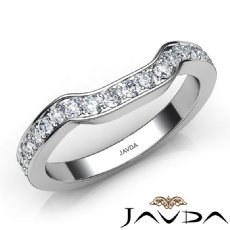 Womens Wedding Band 14k White Gold Pave Set Diamond Engagement 2.6mm Ring 0.50Ct