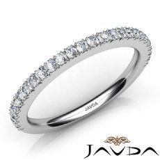 Womens Engagement Wedding 1.9mm Band Pave Set Diamond Ring 14k White Gold 0.50Ct