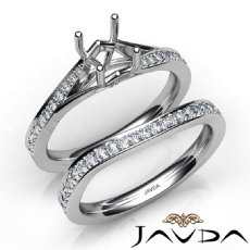 Pave Diamond Engagement Ring Round Semi Mount Bridal Set 14K White Gold 0.90Ct.
