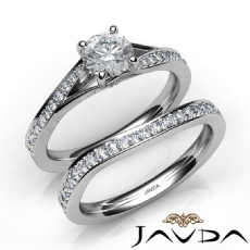 Sidestone Pave Bridal Set Round diamond engagement Ring in 14k Gold White