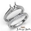 Round Pave Diamond Engagement Semi Mount Ring Bridal Sets 14k White Gold 1.25Ct - javda.com