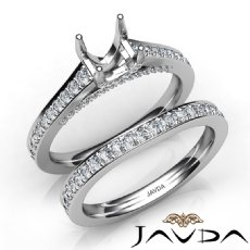 Round Pave Diamond Engagement Semi Mount Ring Bridal Sets 14K White Gold 1.25Ct.