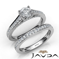 Pave Classic Bridal Set Round diamond engagement Ring in 14k Gold White