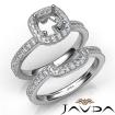 Diamond Engagement Ring Round Halo Pave Bridal Set 14k White Gold Semi Mount 1Ct - javda.com