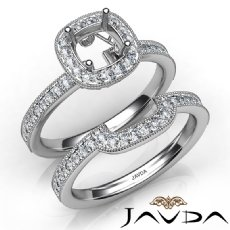 Diamond Engagement Ring Round Halo Pave Bridal Set 14K White Gold Semi Mount 1Ct