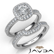Milgrain Setting Halo Bridal Round diamond engagement Ring in 14k Gold White