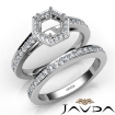 Round Pave Diamond Engagement Semi Mount Ring Bridal Sets 14k White Gold 1Ct - javda.com