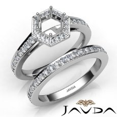 Round Pave Diamond Engagement Semi Mount Ring Bridal Sets 14K White Gold 1.0Ct.