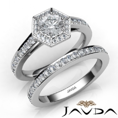 Hexagon Halo Bridal Set Round diamond engagement Ring in 14k Gold White