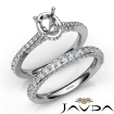 Pave Diamond Engagement Ring Oval Semi Mount Bridal Set 14k White Gold 1.65Ct - javda.com