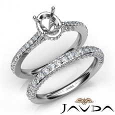 Pave Diamond Engagement Ring Oval Semi Mount Bridal Set 14K White Gold 1.65Ct.