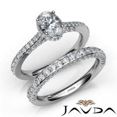 Circa Halo Bridal Set Pave Oval diamond engagement Ring in 14k Gold White