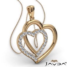 Two Heart Pendant Necklace 14k Gold Yellow Round Diamond  (0.55Ct. tw.)