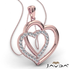 Two Heart Pendant Necklace 14k Rose Gold Round Diamond  (0.55Ct. tw.)