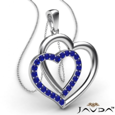 Two Heart Pendant Necklace 18k Gold White Round Sapphire Gemstone <Dcarat>