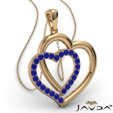 Two Heart Pendant Necklace 14k Gold Yellow Round Sapphire Gemstone <Dcarat>