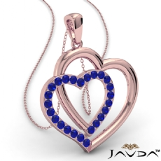 Two Heart Pendant Necklace 14k Rose Gold Round Sapphire Gemstone <Dcarat>