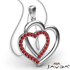 Two Heart Pendant Necklace 18k Gold White Round Ruby Gemstone <Dcarat>