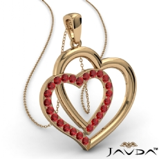Two Heart Pendant Necklace 14k Gold Yellow Round Ruby Gemstone <Dcarat>