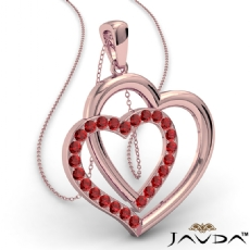 Two Heart Pendant Necklace 14k Rose Gold Round Ruby Gemstone <Dcarat>