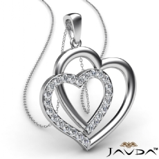 Two Heart Pendant Necklace 18k Gold White Round Diamond  (0.55Ct. tw.)