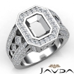 Emerald Semi-Mount Vintage Diamond Engagement Ring Halo Pave Setting 14k White Gold 2.3Ct - javda.com